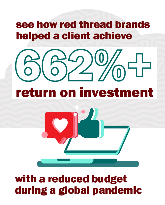 see how red thread brands helped a client achieve 662%+ return on investment with a reduced budget during a global pandemic