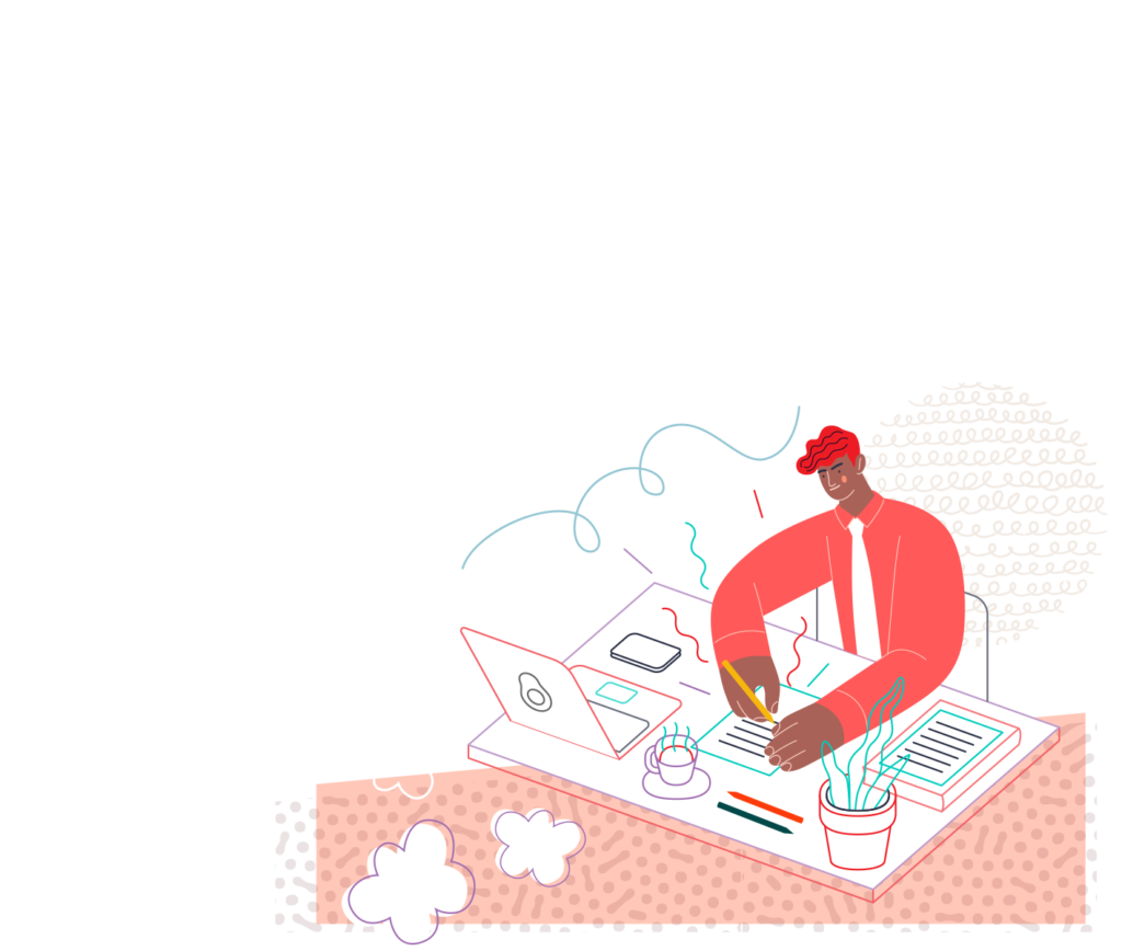Man sitting at designing at computer