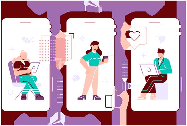 women on mobile phones communicating