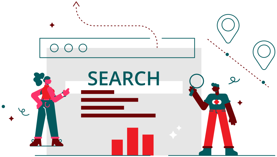 male and female doing online search
